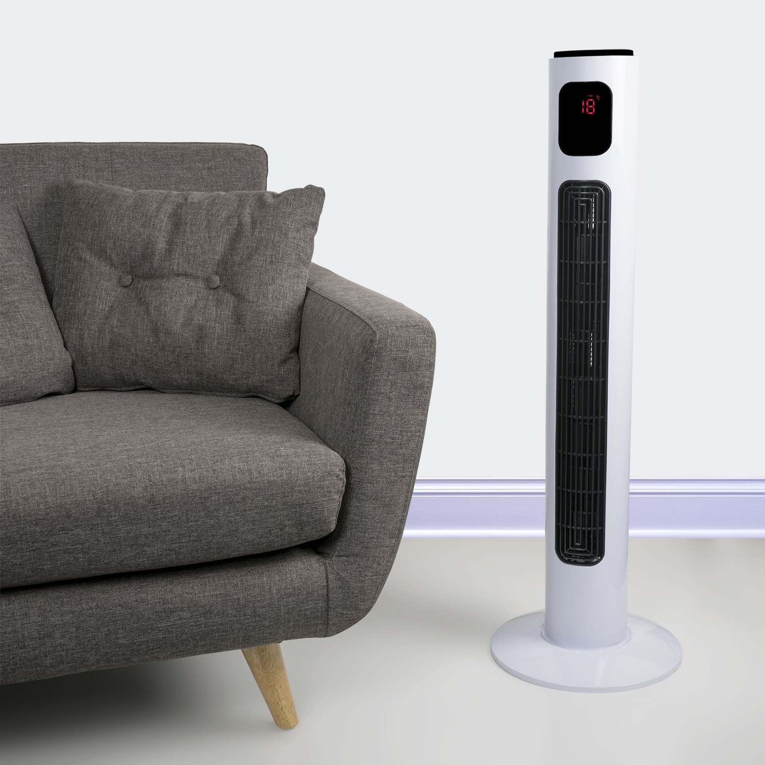 Lightweight Tower Fan Oscillating Cooling Quiet with Remote Control
